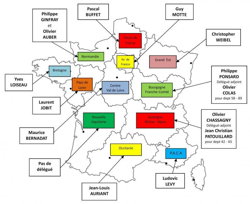 Carte des delegues regionaux 2019